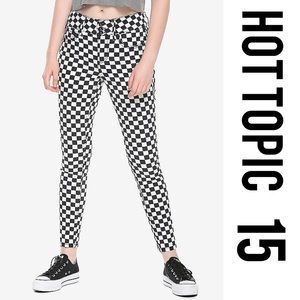 Black + White Checkered Super Skinny Jeans 15
